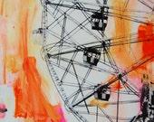 ORIGINAL Painting with Photo on Canvas, Coney Island Wonder Wheel Modern Art. Pop Art Brooklyn Large 20 x 30 by joZIge.
