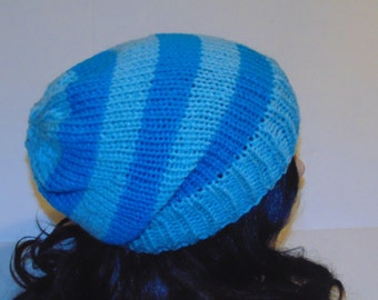 Blue and Teal Striped Knit Hat, Knit Beanie, Striped Beanie