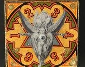 Ezekiel's Wheel: Collaboration with Blake original mixed media assemblage wall art by Leslee Lukosh of Foundturtle in Portland, Oregon