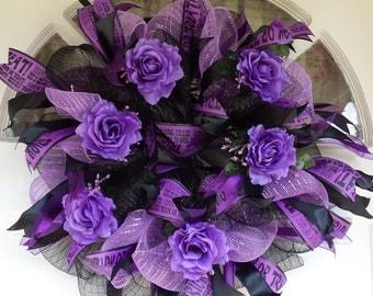 Samhain Wreath, Trick Or Treat Wreath, Halloween Wreath, Fall Wreath, Black & Purple Wreath