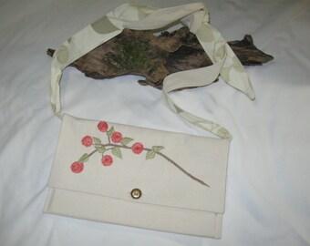 Handmade Beige Pink Floral Hand Embroidered Cotton Tied Strap Shoulder Bag Purse