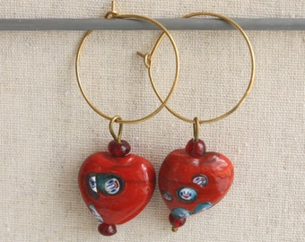 Vintage Red Glass Heart with Faces Earrings