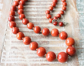 Vintage Red Sponge Coral Graduated Bead Necklace, 28 inches