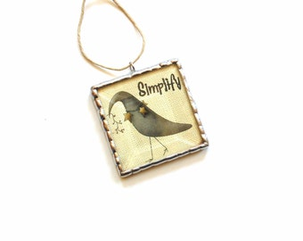 Country primitive ornament, Simplify, prim ornie, stained glass ornament, crow country home decor, teacher gift under 20, picture ornament