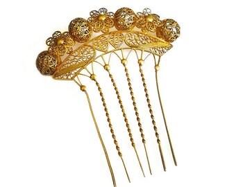 Victorian Hair Comb, Gilt Gold, Filigree, Crown, Chignon, Grecian Inspired, Antique Accessories