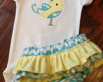 Personalized Bodysuit and Ruffled Diaper Cover Set- Personalized Embroidered Love Bird Set- Ruffled Diaper Cover Set- Chevron