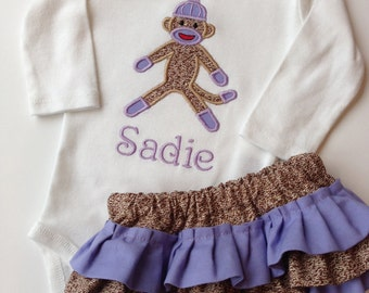 Sock Monkey Bodysuit and Diaper Cover Set- Monkey Bodysuit set