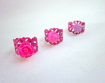 Pink Flower Ring -- Pink Adjustable Ring -- Hot Pink Ring -- Pink Party Theme -- Hot Pink Party Favors -- Pink Fashion Rings --Gift for Girl