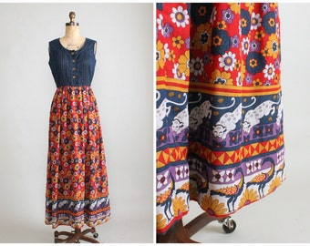 SALE Vintage 1970s Dress : 70s Novelty Print Cotton Maxi Dress