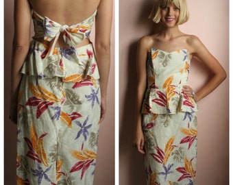 Vintage Boho Dress / Open Back Strapless Dress / Leaf Print Earth Tones / Easy Cotton Summer Dress / Sweetheart Bust Peplum Dress