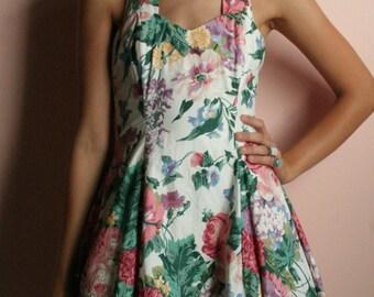 Nineties Mini Dress / Floral Halter Dress / Summer Garden Party Dress