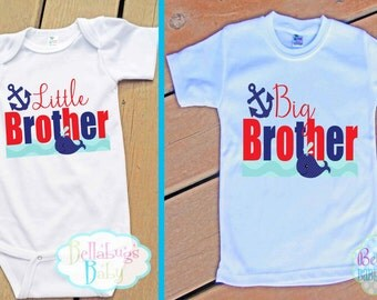 Whale Big Brother Little Brother Outfit - Bodysuit or Tshirt - Photo prop - Newborn - Nautical