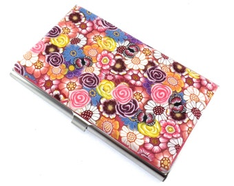 Colorful Polymer Clay Business Card  Case, Flower Design