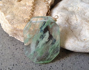 Moss Glass Gold Necklace