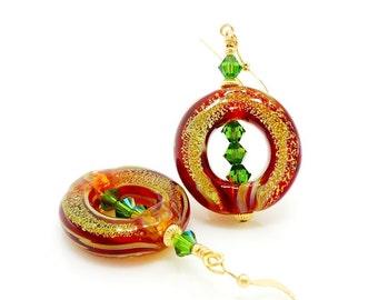 Red Green Earrings, Donut Earrings, Lampwork Earrings, Boro Glass Earrings, Unique Earrings, Glass Art Earrings, Beadwork Earrings