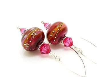Pink Earrings, Colorful Earrings, Lampwork Earrings, Glass Earrings, Beadwork Earrings, Unique Earrings, Dangle Earrings, Simple Earrings
