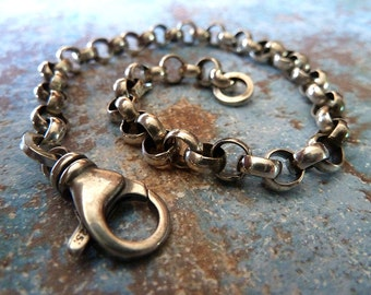 Mens Bracelet, Sterling Silver Chain, Oxidized Large Link Chain, Jewelry for Men, Bracelet For Men, Men's Gift