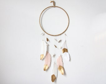 Modern Geo Mobile - Choose your own colors, felt feathers and metallic faux leather // Free US Shipping