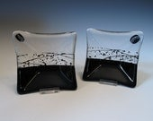 Black and Clear Small Square Glass Dishes - Set of Two - with Streamers and Confetti