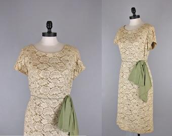 Vintage 1950s Dress l 50s Lace Dress with Sash