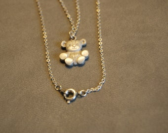 Teddy Bear Necklace Pendant Pewter