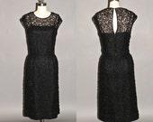 Vintage 60s Ribbon Dress, Black 1960s Cocktail Dress, R&K Originals Medium