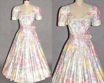50s Style Dress, Vintage 1980s Full Skirt Floral Cotton Garden Party Dress, Karen Alexander, S - M