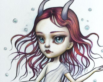 Capricorn - Zodiac Girl signed 8x10 pop surrealism lowbrow Fine Art Print by Mab Graves -unframed