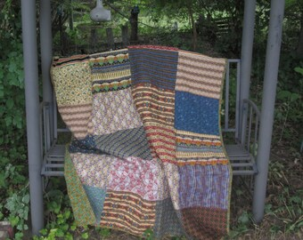 Patchwork Quilt Extra Long Twin Size, College Dorm Quilt, Rustic Cabin Quilt, Hunting Lodge Quilt, Green, Black, Blue, Red Quilt, Blanket