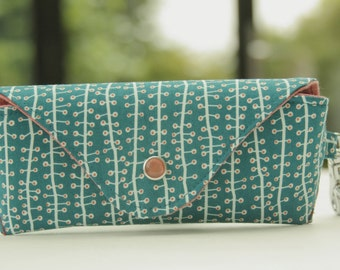 Glasses case/ Eyeglass case/ reading glasses case/organic cotton/seaweed/ white lines/orange dots on blue-green /geometric pattern