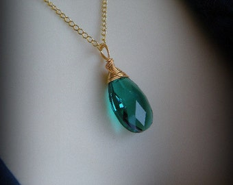 Emerald Green Crystal Necklace Pendant, Birthstone for May, Witches of East End, Swarovski