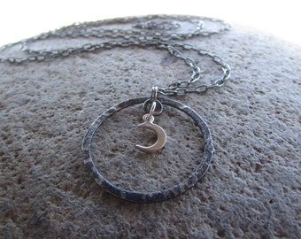Sterling Silver Moon Necklace Oxidized Circle Crescent Moon Extra Long Necklace