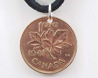 Canadian Coin Necklace, 1 Cent, One Penny, Coin Pendant, Maple Leaf, Leather Cord, Mens Necklace, Womens Necklace, Birth Year, 1941