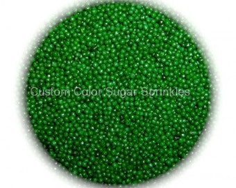 GREEN NONPAREILS Edible Sprinkles Cakepops Cupcake CandyConfetti Decorations 2oz.