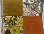 Designer Cushion/pillow cover, handmade, quilted, patchwork, vintage, recycled, autumn colours, home furnishing