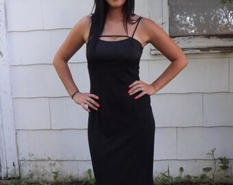 90s Black Dress Long Sleeveless Vintage 3 4 XS