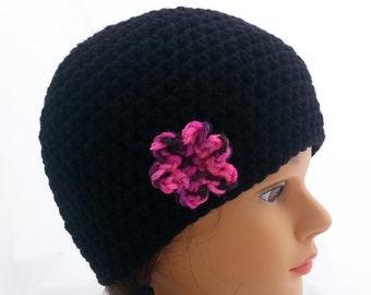 girls crochet hat, girls beanie, crochet hats for girls, flower beanie, size 4 years, flower beanies, vegan friendly, toddler beanie, 1434