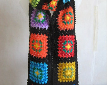 Granny square scarf,afghan crochet, warm, long shawl, black,colorful scarf,lady gift, handmade, patchwork, winter, gorgeous,unique design