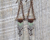SANTA CRUZ. Purple, aqua, grey beaded glass earrings with chain. 33-E