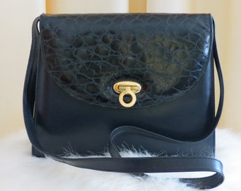 Vintage Leather Dark Navy Shoulder Bag Handbag With Reptile Skin Style Leather