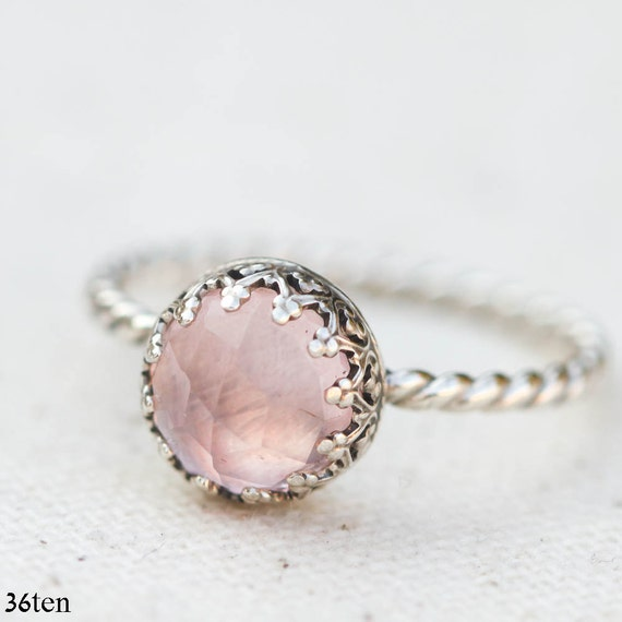 Reserved for Lori = Size 8 Romantic Pink Rose Quartz Ring