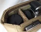 Tan Camera Bag Insert  - Adjustable Divider - Size 5x11x7 - INSTOCK