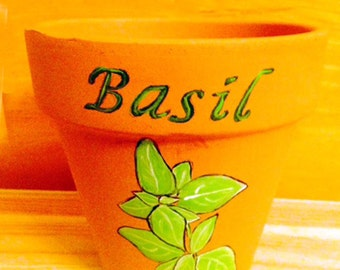 Hand Painted Basil Herb Pot 4 Inch Red Clay Terracotta Made to Order