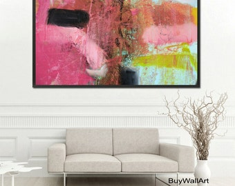 abstract pink art, pink Painting, green pink Modern Painting, Large Abstract Painting, Pink Blue Art Print, Fine Art Print, Pink Abstract