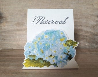 White Hydrangea Reserved Sign -  Decoration for Events, Weddings, Showers, Parties