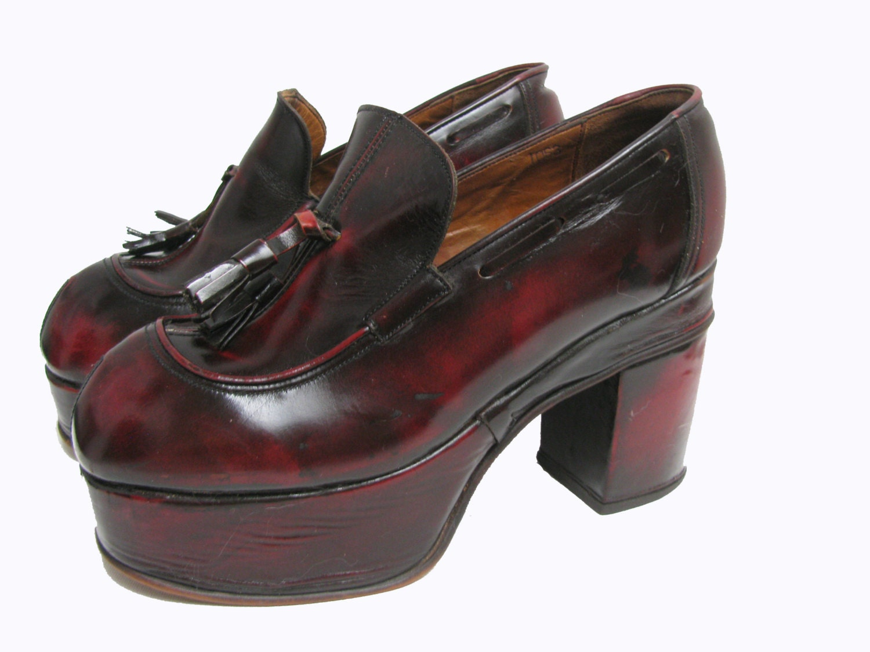 1970s mens disco platform shoes original vintage