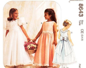 Sz 3/4/5 - Girls'/Toddler Dress Pattern McCall's 8643 -  Girls' Dress and Petticoat - Special Moments