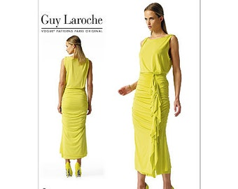 Pick Your Size - Vogue Dress Pattern V1339 by GUY LAROCHE- Misses' Pullover Rouched Dress with Blouson Bodice - Vogue Paris Original