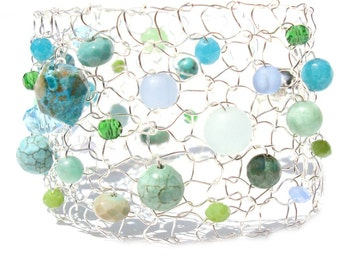 Arm Cuff Bracelet Beaded Bracelet Jade Bracelet under the sea mermaid jewelry colorful bracelet mermaid gift statement bracelet