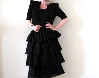 SALE vintage 70's 1970's St. John two piece outfit / set black knit dress cropped jacket puff sleeves ruffles designer silk organza